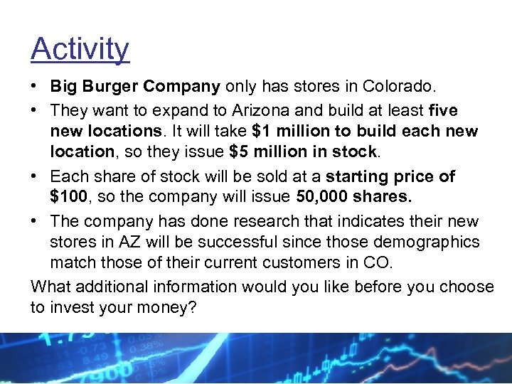 Activity • Big Burger Company only has stores in Colorado. • They want to