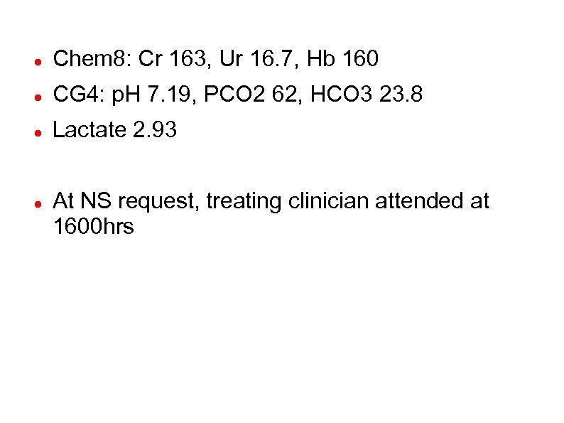 Chem 8: Cr 163, Ur 16. 7, Hb 160 CG 4: p. H