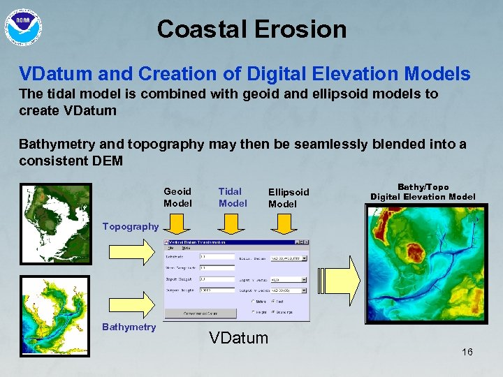 Coastal Erosion VDatum and Creation of Digital Elevation Models The tidal model is combined