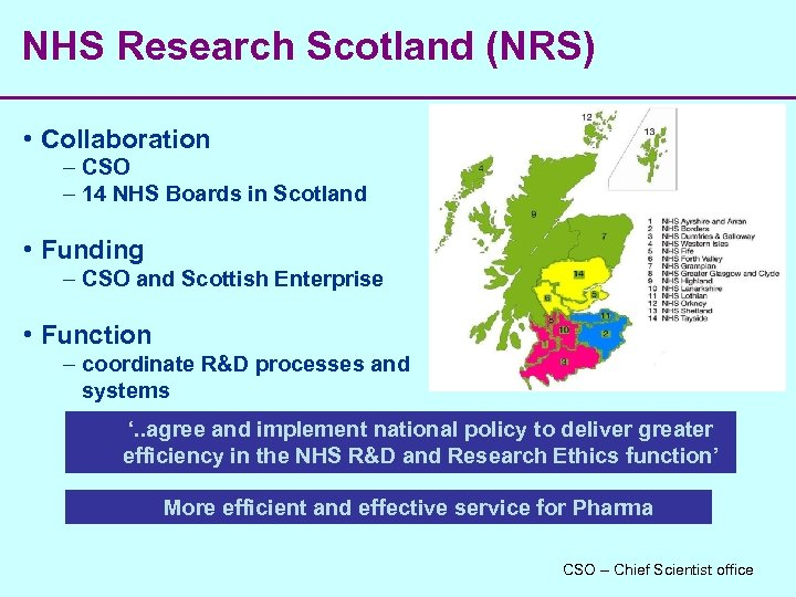 NHS Research Scotland (NRS) • Collaboration – CSO – 14 NHS Boards in Scotland