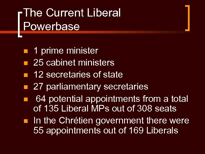 The Current Liberal Powerbase n n n 1 prime minister 25 cabinet ministers 12