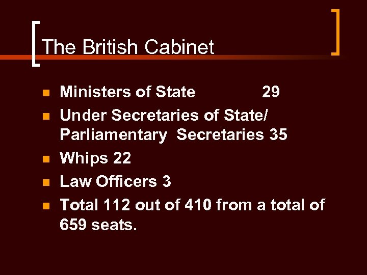 The British Cabinet n n n Ministers of State 29 Under Secretaries of State/