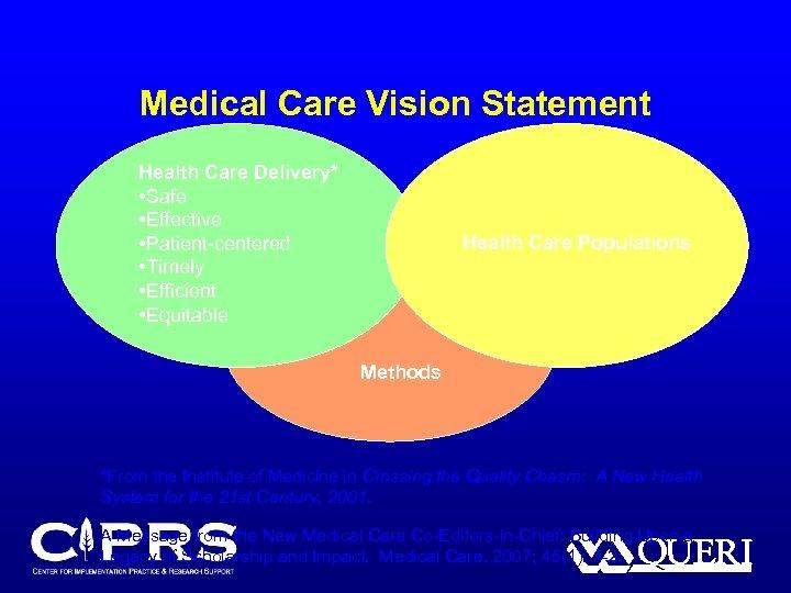 Medical Care Vision Statement Health Care Delivery* • Safe • Effective • Patient-centered •