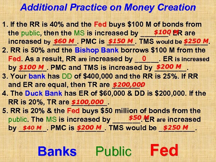 Additional Practice on Money Creation 1. If the RR is 40% and the Fed