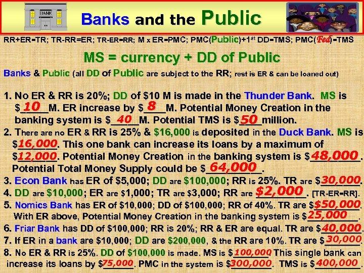 Banks and the Public RR+ER=TR; TR-RR=ER; TR-ER=RR; M x ER=PMC; PMC(Public)+1 st DD=TMS; PMC(Fed)=TMS