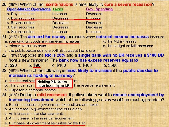 20. (86%) Which of the combinations is most likely to cure a severe recession?