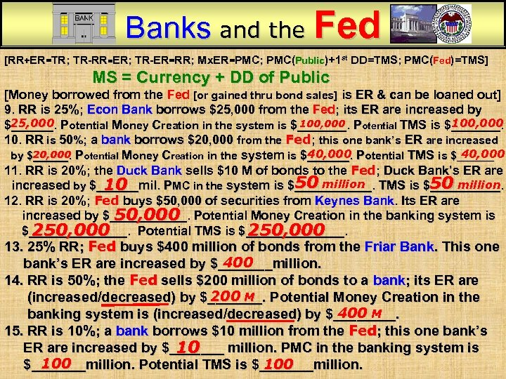 Banks and the Fed [RR+ER=TR; TR-RR=ER; TR-ER=RR; Mx. ER=PMC; PMC(Public)+1 st DD=TMS; PMC(Fed)=TMS] MS