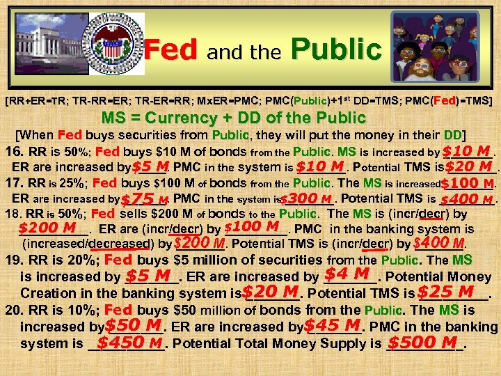 Fed and the Public [RR+ER=TR; TR-RR=ER; TR-ER=RR; Mx. ER=PMC; PMC(Public)+1 st DD=TMS; PMC(Fed)=TMS] MS