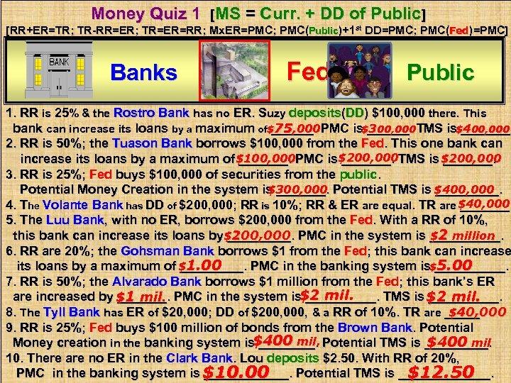 Money Quiz 1 [MS = Curr. + DD of Public] [RR+ER=TR; TR-RR=ER; TR=ER=RR; Mx.