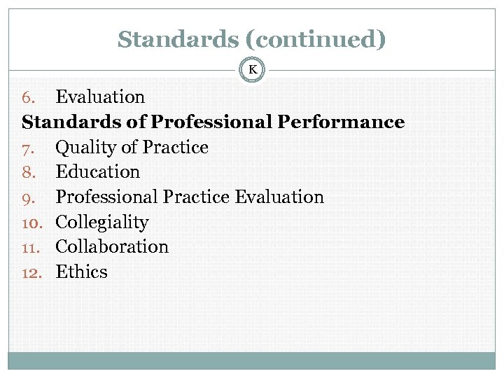 Standards (continued) K Evaluation Standards of Professional Performance 7. Quality of Practice 8. Education