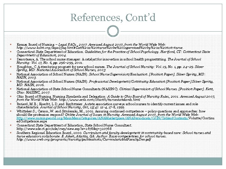 References, Cont'd Kansas Board of Nursing – Legal FAQs. , 2007. Accessed August 2007,