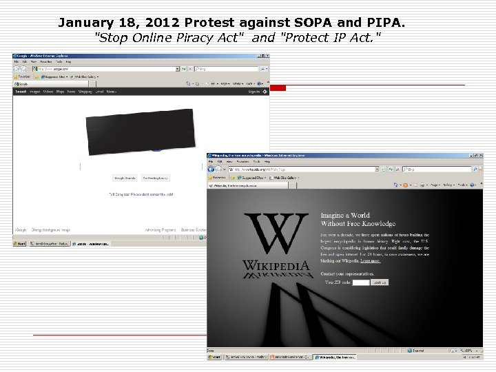 January 18, 2012 Protest against SOPA and PIPA.