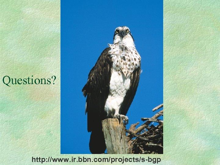 Questions? http: //www. ir. bbn. com/projects/s-bgp