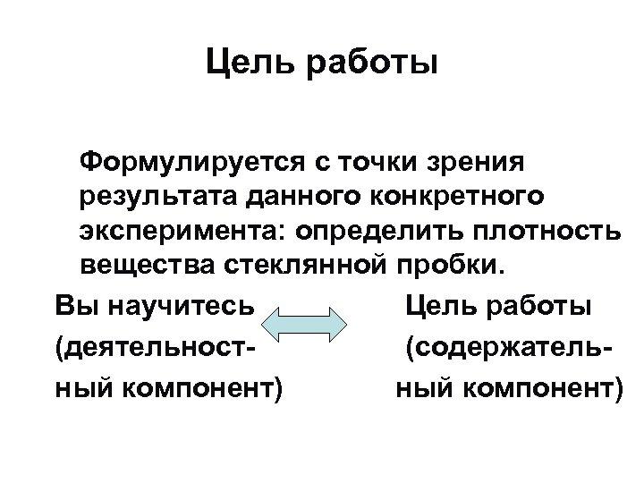 Цель работы Формулируется с точки зрения результата данного конкретного эксперимента: определить плотность вещества стеклянной