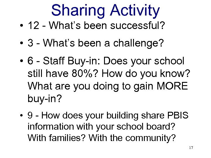 Sharing Activity • 12 - What's been successful? • 3 - What's been a