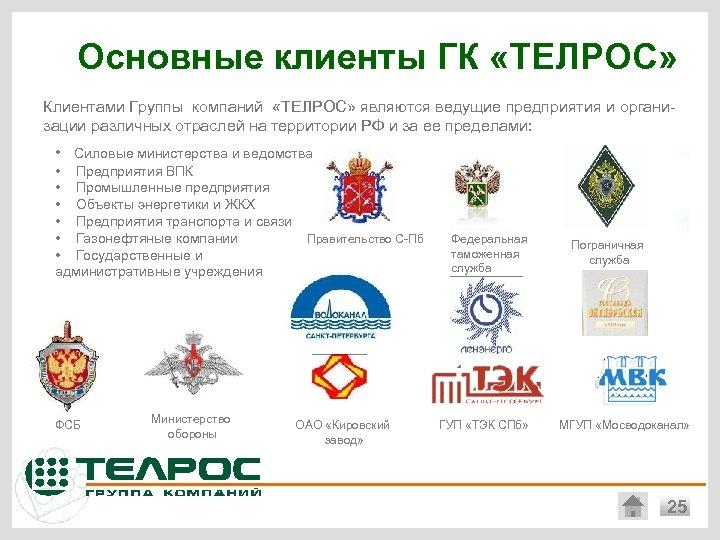 Основные клиенты ГК «ТЕЛРОС» Клиентами Группы компаний «ТЕЛРОС» являются ведущие предприятия и организации различных