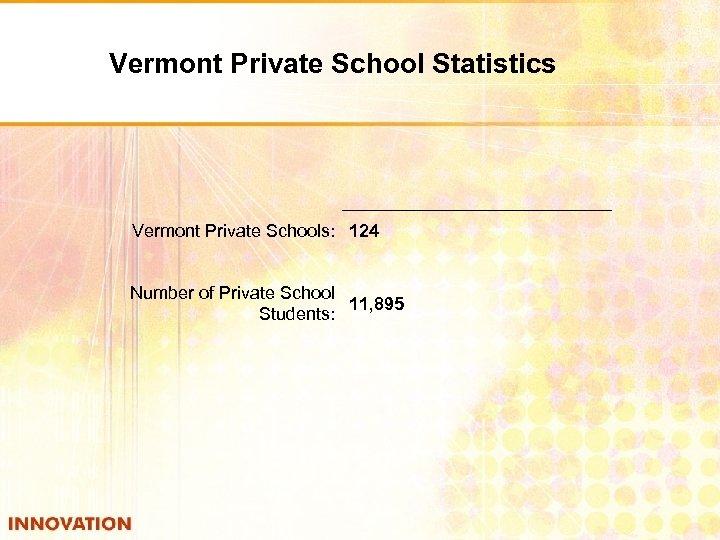 Vermont Private School Statistics Vermont Private Schools: 124 Number of Private School 11, 895