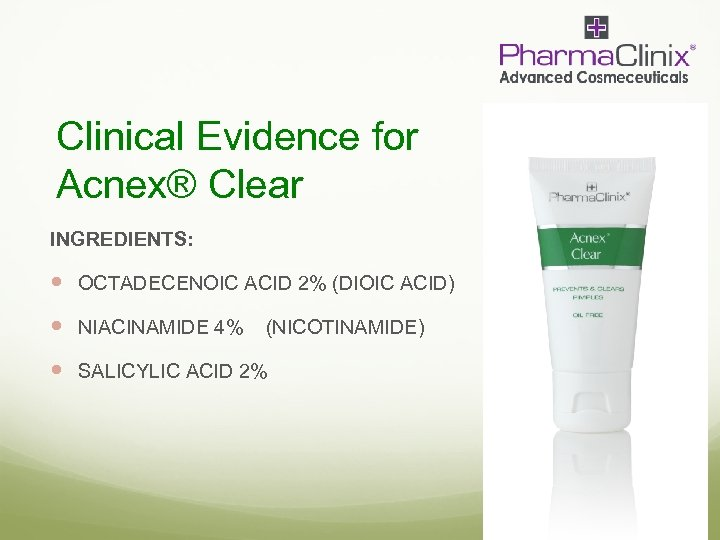 Clinical Evidence for Acnex® Clear INGREDIENTS: OCTADECENOIC ACID 2% (DIOIC ACID) NIACINAMIDE 4% (NICOTINAMIDE)