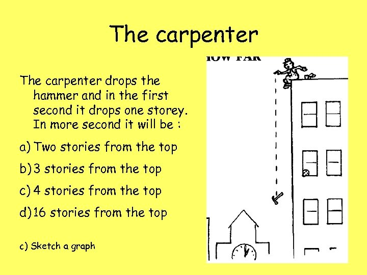 The carpenter drops the hammer and in the first second it drops one storey.