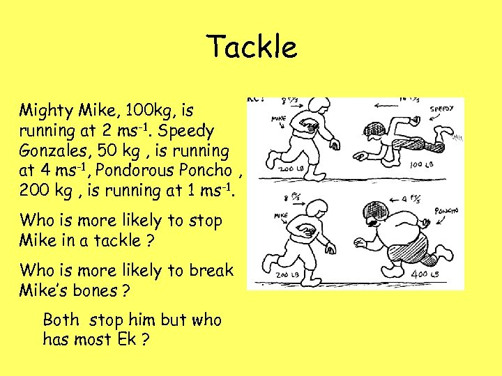 Tackle Mighty Mike, 100 kg, is running at 2 ms-1. Speedy Gonzales, 50 kg