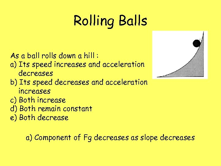 Rolling Balls As a ball rolls down a hill : a) Its speed increases