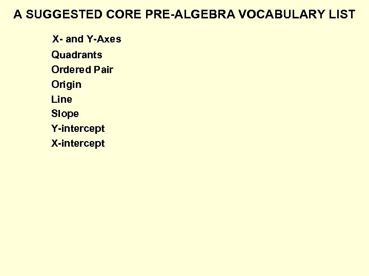 A SUGGESTED CORE PRE-ALGEBRA VOCABULARY LIST X- and Y-Axes Quadrants Ordered Pair Origin Line