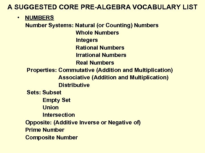 A SUGGESTED CORE PRE-ALGEBRA VOCABULARY LIST • NUMBERS Number Systems: Natural (or Counting) Numbers