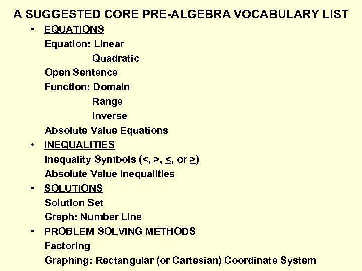 A SUGGESTED CORE PRE-ALGEBRA VOCABULARY LIST • EQUATIONS Equation: Linear Quadratic Open Sentence Function: