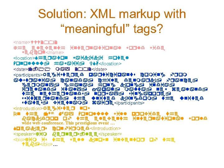 "Solution: XML markup with ""meaningful"" tags? <name>WWW 2002 The eleventh international world wide webcon</name>"