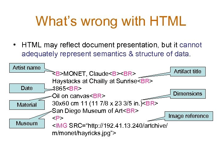 What's wrong with HTML • HTML may reflect document presentation, but it cannot adequately
