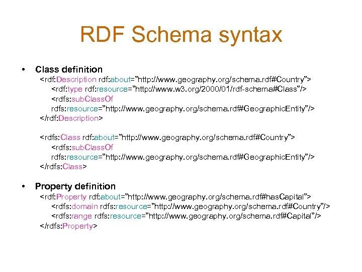 """RDF Schema syntax • Class definition <rdf: Description rdf: about=""""http: //www. geography. org/schema. rdf#Country"""">"""