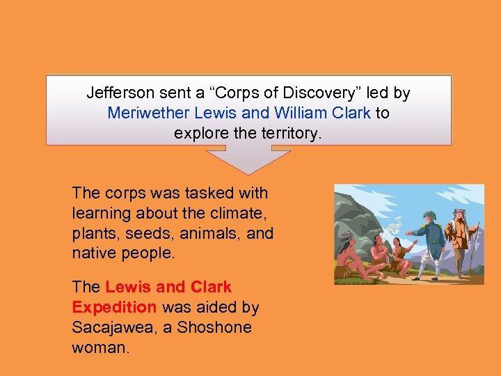 "Jefferson sent a ""Corps of Discovery"" led by Meriwether Lewis and William Clark to"