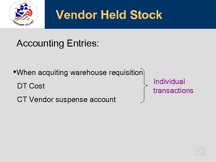 Vendor Held Stock Accounting Entries: • When acquiting warehouse requisition DT Cost CT Vendor