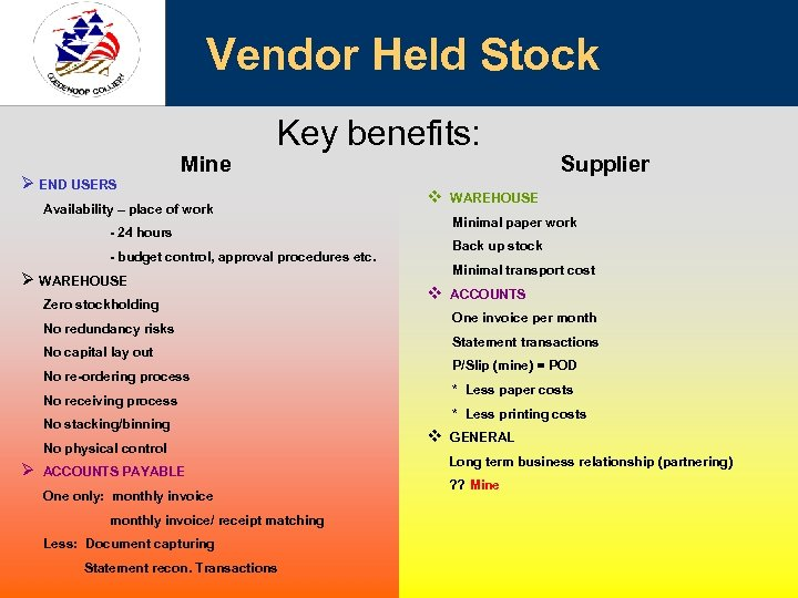 Vendor Held Stock Ø END USERS Mine Key benefits: Availability – place of work
