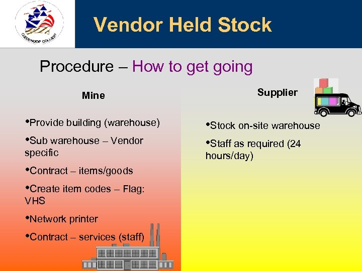 Vendor Held Stock Procedure – How to get going Supplier Mine • Provide building