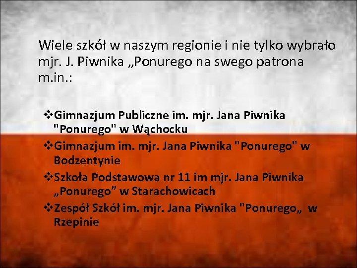 """Wiele szkół w naszym regionie i nie tylko wybrało mjr. J. Piwnika """"Ponurego na"""