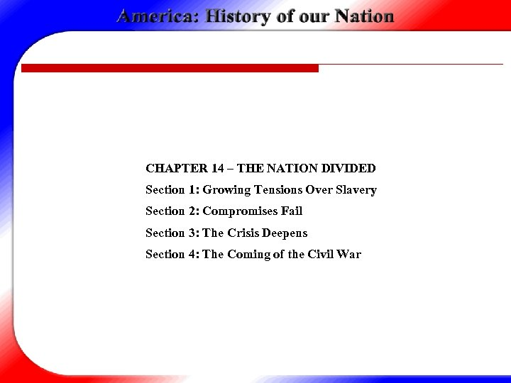 CHAPTER 14 – THE NATION DIVIDED Section 1: Growing Tensions Over Slavery Section 2: