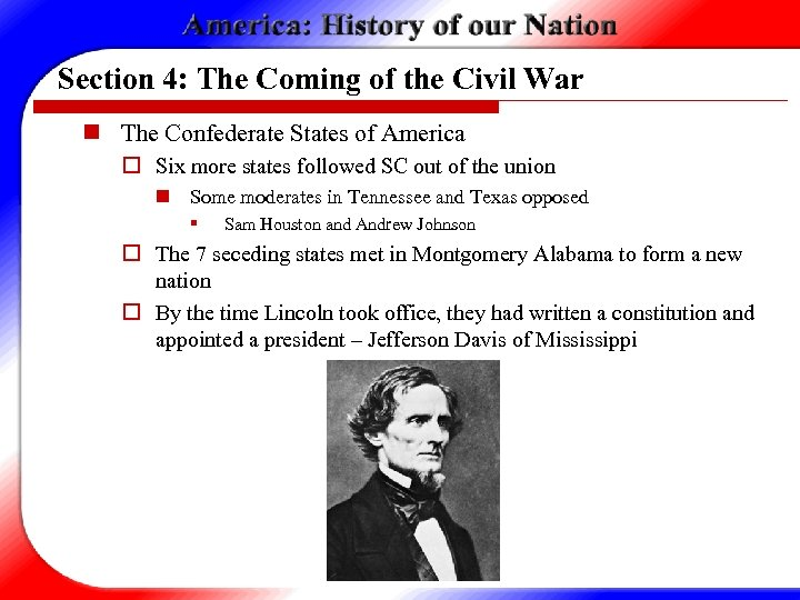 Section 4: The Coming of the Civil War n The Confederate States of America