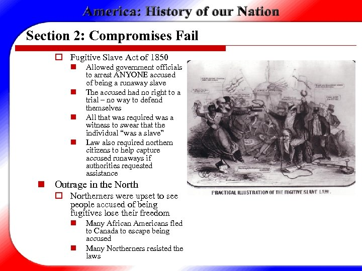 Section 2: Compromises Fail o Fugitive Slave Act of 1850 n n Allowed government