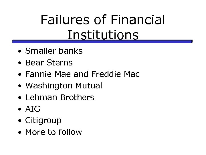 Failures of Financial Institutions • • Smaller banks Bear Sterns Fannie Mae and Freddie