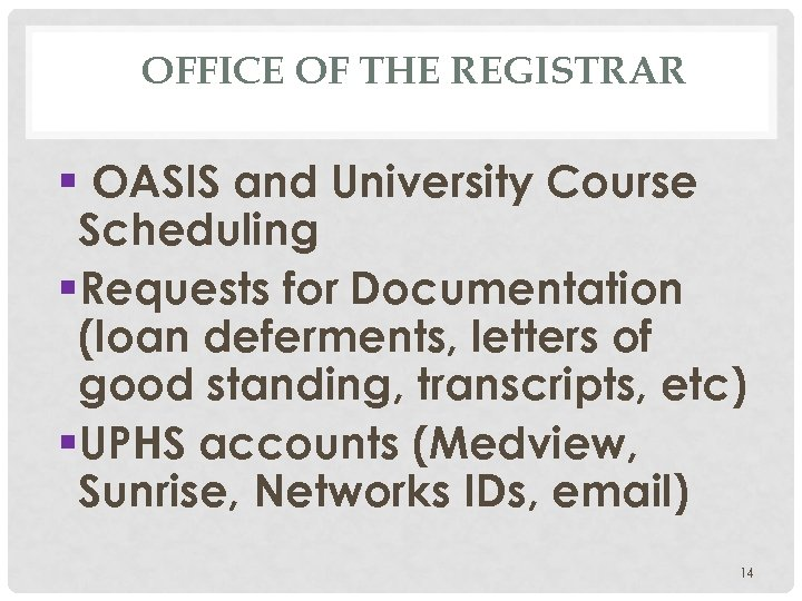 OFFICE OF THE REGISTRAR § OASIS and University Course Scheduling §Requests for Documentation (loan