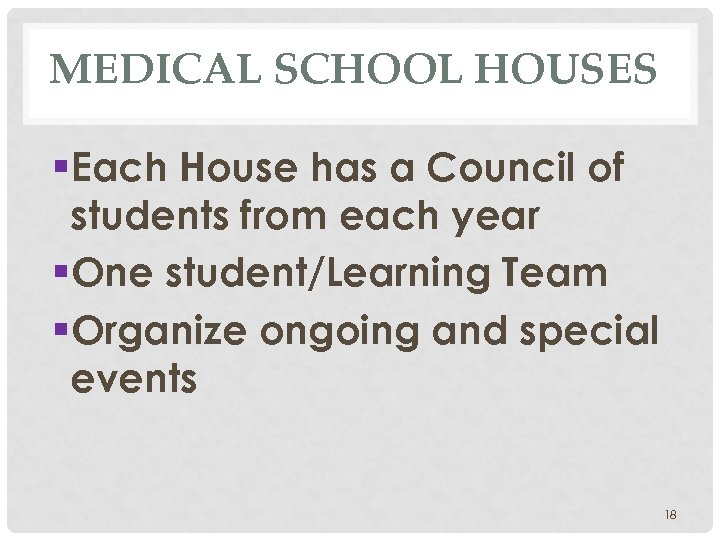 MEDICAL SCHOOL HOUSES §Each House has a Council of students from each year §One