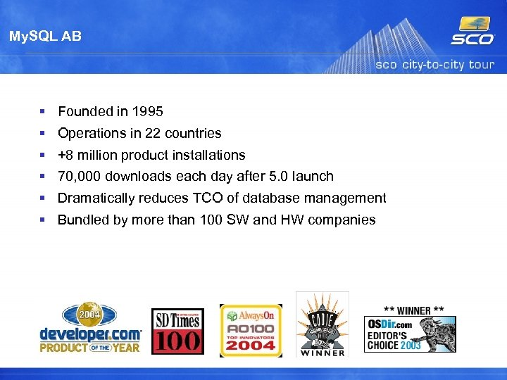 My. SQL AB Founded in 1995 Operations in 22 countries +8 million product installations