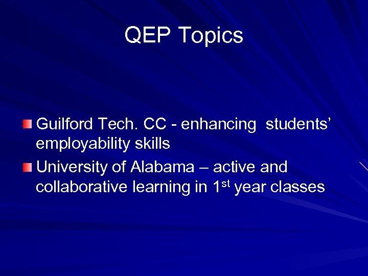 QEP Topics Guilford Tech. CC - enhancing students' employability skills University of Alabama –