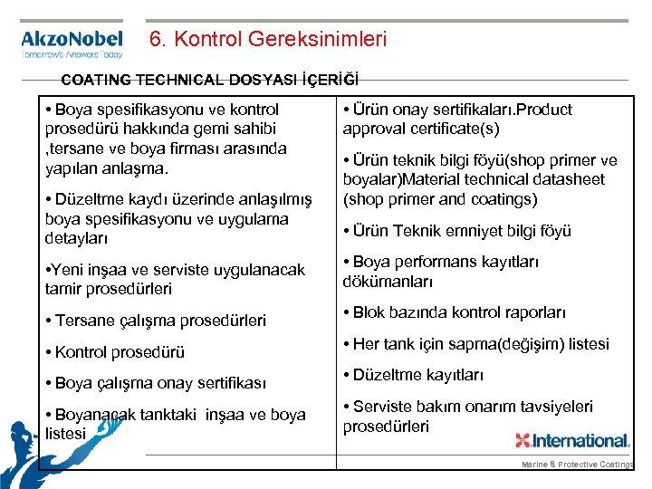 6. Kontrol Gereksinimleri COATING TECHNICAL DOSYASI İÇERİĞİ • Boya spesifikasyonu ve kontrol prosedürü hakkında