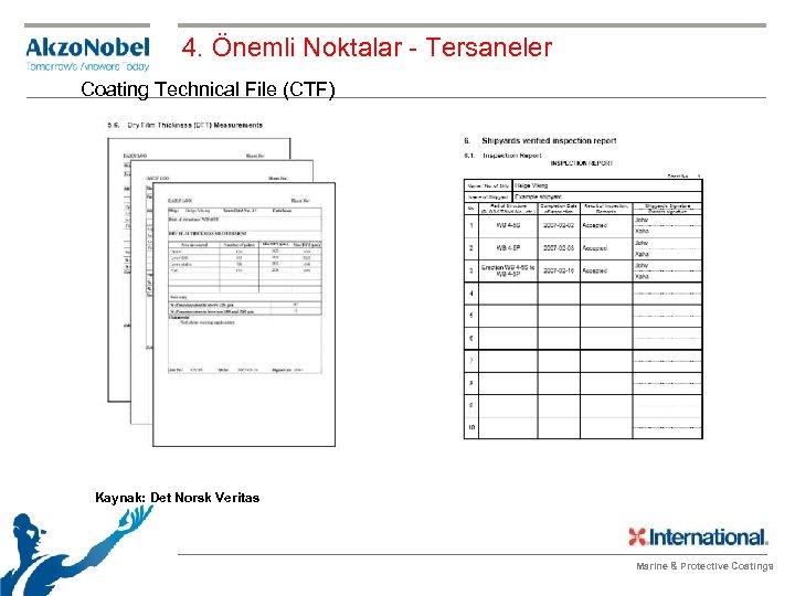 4. Önemli Noktalar - Tersaneler Coating Technical File (CTF) Kaynak: Det Norsk Veritas Marine