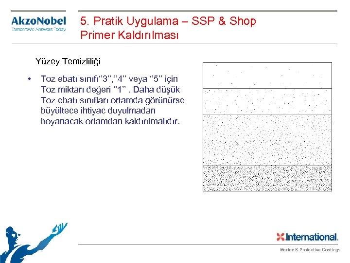 5. Pratik Uygulama – SSP & Shop Primer Kaldırılması Yüzey Temizliliği • Toz ebatı