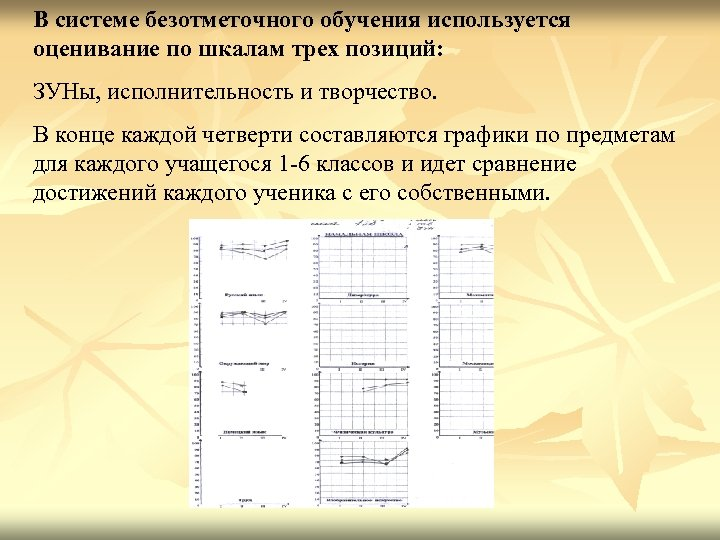 В системе безотметочного обучения используется оценивание по шкалам трех позиций: ЗУНы, исполнительность и творчество.