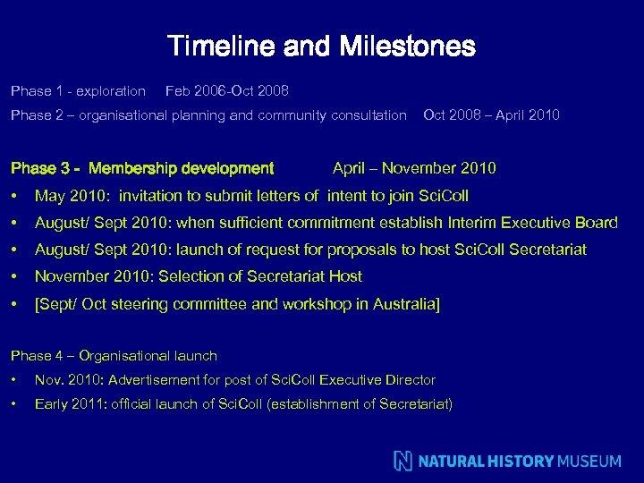 Timeline and Milestones Phase 1 - exploration Feb 2006 -Oct 2008 Phase 2 –