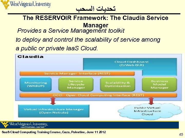 ﺗﺤﺪﻳﺎﺕ ﺍﻟﺴﺤﺐ The RESERVOIR Framework: The Claudia Service Manager Provides a Service Management